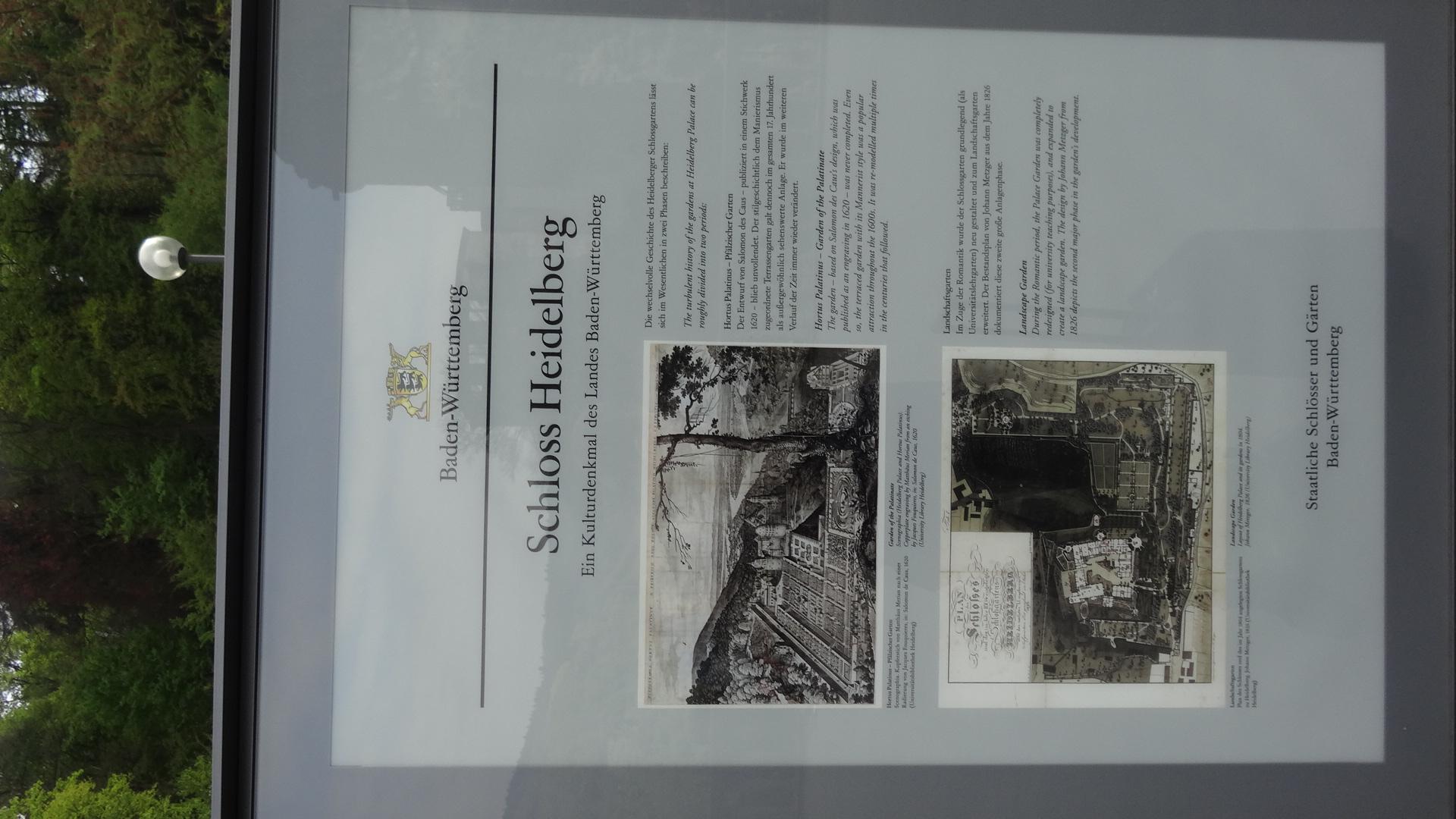 Erklärtafel zum Schloss Heidelberg