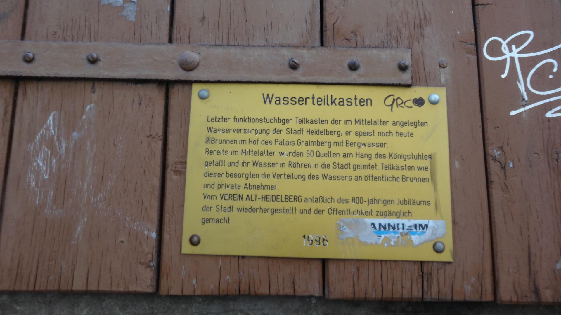 Erklärtafel zum Wasserteilkasten